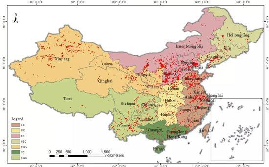 2012-2017年间中国区4145个重工业区域分布图