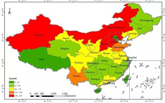 2017年中国区在营重工业数目分布图