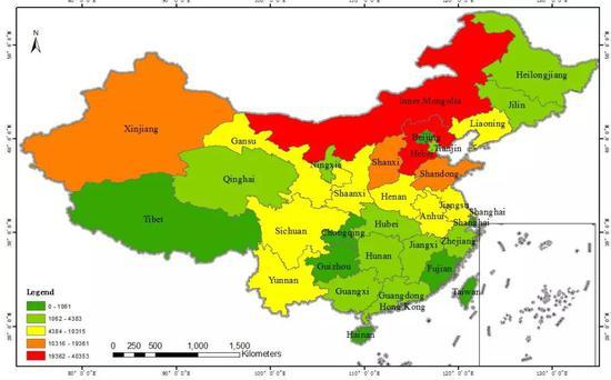 2017年中国区在营重工业生产规模分布图