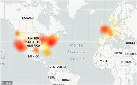 DownDetector上的关于特斯拉网络中断问题的车主热点图。