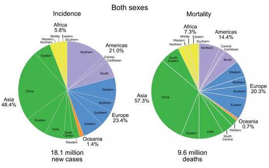 左侧为不同地区患癌人数的比率,右侧为死亡人数比率,中国所占比例都非常显著。