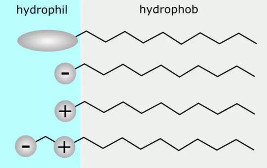 表面活性剂根据其头部组成分类:非离子,阴离子,阳离子,两性。