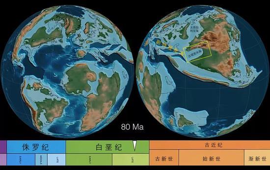 白垩纪晚期的古地理格局| 8000万年前,海水曾自西向东侵占塔里木盆地。Ma外示百万年。图源@Christopher Scotese,截取自文献