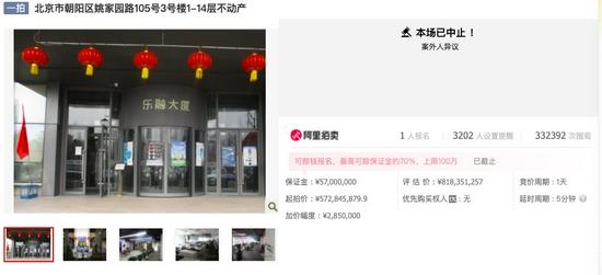 乐融大厦(乐视大厦)又被中止拍卖。截屏图