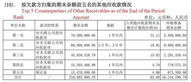 按欠款方归集的期末余款前五名的其他应收款情况