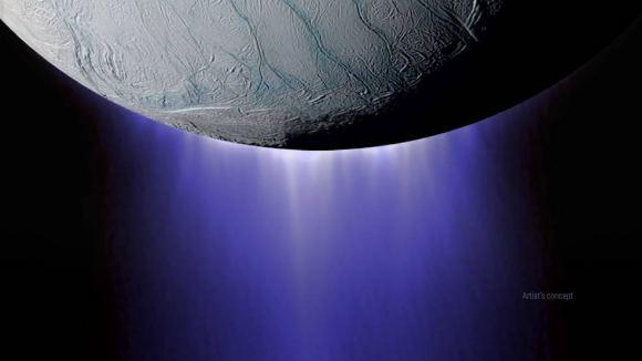 土衛二上的羽流渲染圖。