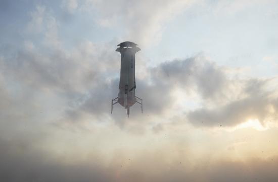 新谢泼德号火箭垂直回收画面   蓝色起源