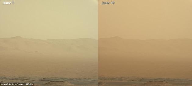 """此次沙尘暴将要发生的迹象最早出现于5月30日。项目组接到了通知,并制定了一项""""三日计划"""",帮助机遇号挺过那个周末。但周末过后,沙尘暴并未消散,大气不透明度(即大气中的沙尘数量)反而与日俱增、急剧上升。截至6月20,这场沙尘暴仍在进行中。"""