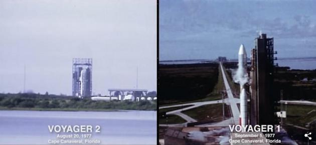 1977年,两艘旅走者飞船先后从地球发射起飞