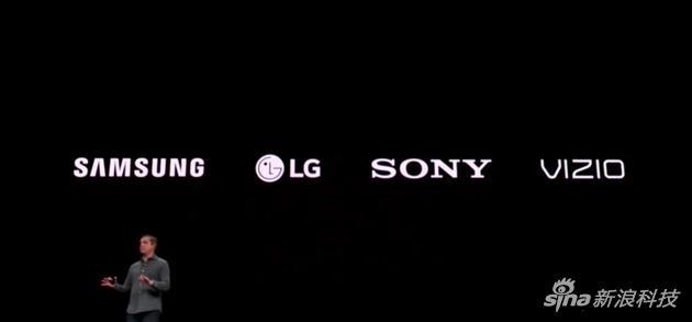 苹果还会把这套服务推广到索尼、三星、LG、VIZIO的电视硬件上
