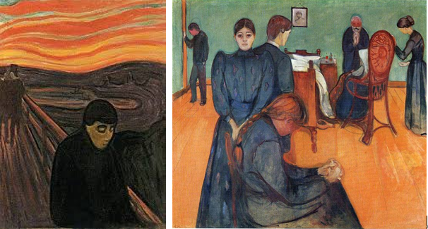 Edvard munch,Despair, 1892; The death in the sickroom, 1893