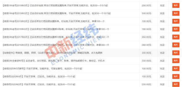 ▲微信號價目表 由受訪者提供