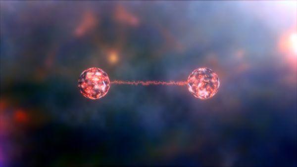 图为量子纠缠概念图。科学家将铍离子的运动与自旋纠缠在了一起,创造出了一种特殊的铍晶体,可以探测到极其微弱的电磁场。