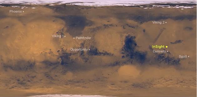 """迄今全部8个成功的火星着陆器(漫游车)的位置,亮黄色为""""洞察号""""(Insight)"""
