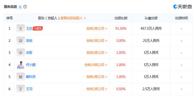 深圳市云歌人工智能技术有限公司股东信息