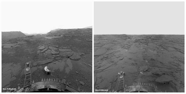 这是苏联金星 13号着陆器发回的全景照片,经过了重新处理