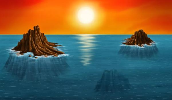圖中是藝術傢描繪的太古代島嶼。