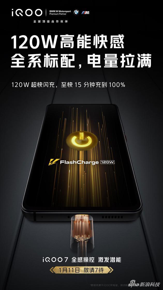 iQOO 7手机开启预热,将支持120W超快闪充