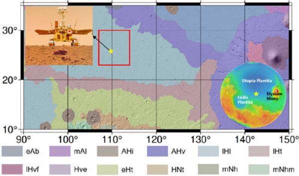 """图1。""""天问一号""""着陆区及其周围地质图,""""祝融号""""(五角星)位于晚西方矮地单元(修改自Tanaka et al。, 2014)。右下角MOLA全球高程图指使着陆区位于乌托邦平原南部,西临伊西斯平原,东接埃律西昂火山"""