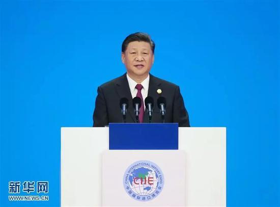 2018年11月5日,首届中国国际进口博览会在上海开幕。国家主席习近平出席开幕式并发表题为《共建创新包容的开放型世界经济》的主旨演讲。新华社记者 姚大伟摄
