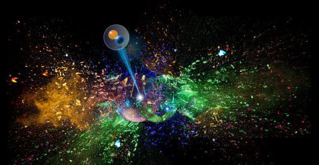 艺术渲染图:两个半透明的球体(分别代表锡原子核)互相碰撞破散落一阵五彩斑斓的碎片。在这些代表质子、中子和其簇的碎片中,有一个介子。图中显示为另一个内部带有两个较小球体的半透明球体,这两个较小球体则代表夸克。