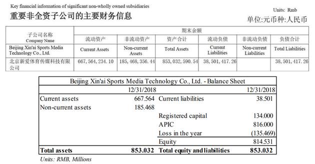 北京新爱体育传媒有限公司资产负债表