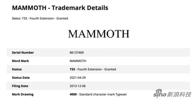 Mammoth则是苹果今年4月才续约的