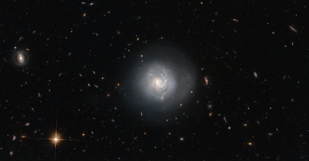 这个星系被称为Mrk 820,是一个透镜状星系。Mrk 820周围有很众其他类型的星系,从椭圆星系到旋涡星系等等。