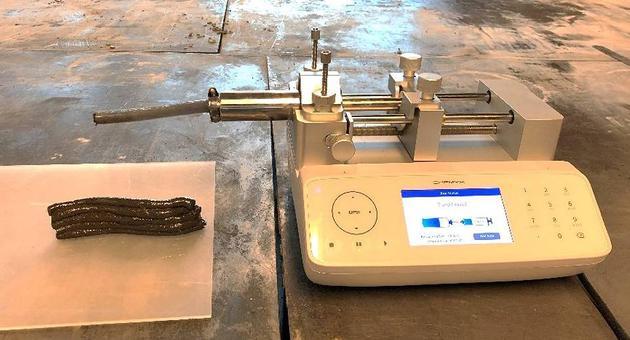 图为打印原料样品的3D打印装配。