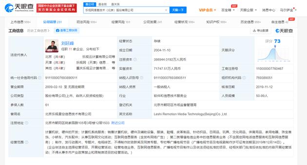 乐视网新增被执行人信息 执行标的16.36亿元