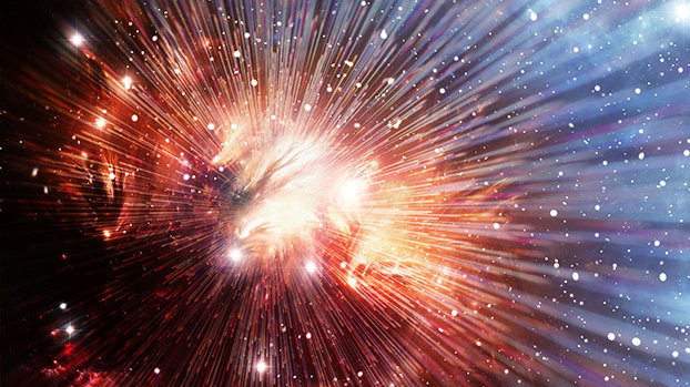 艺术家绘制的宇宙大爆炸概念图。