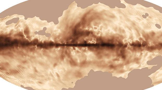 这张美丽的银河系磁场图由普朗克轨道天文台对银河系中星际尘埃释放的极性光展开的首次全天空观测结果制作而成。