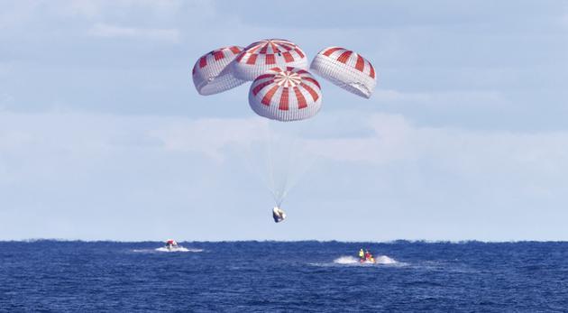 NASA与SpaceX确认 降落伞测试中一个被禁用3个没打开