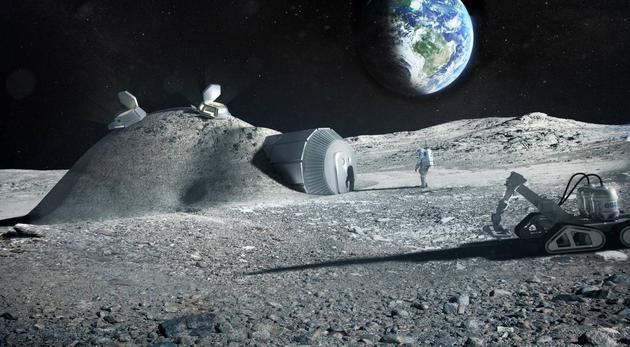 异日的月球基地能够借助3D打印机、行使月壤、水和宇航员的尿液等原料搭建。