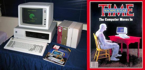 """图左:IBM公司于1981推出的世界上首部幼我电脑,售价相等于今天的3500美元,固然售价稍显腾贵但照样大受欢迎,到1985年,其销量已达近100万台 。图右:1982年,电脑成为《时代杂志》首位非真人的""""年度人物"""",标志着世界已经仔细到幼我电脑将对人类生活产生的主要影响"""