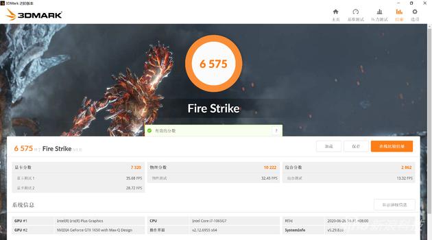 GeForce GTX 1650 3DMark Fire Strike得分
