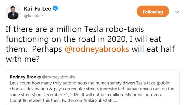 特斯拉放言要送100万辆自动驾驶出租车上路 李开复:能成我吃汽车