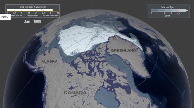 图为1988年1月第一周的北极海冰覆盖情况,存在时间超过四年的海冰面积约为312万平方公里。