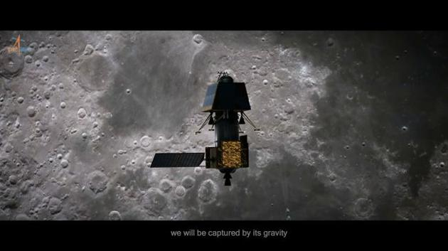 """""""维克拉姆""""着陆器正在接近月球表面(想象图)"""