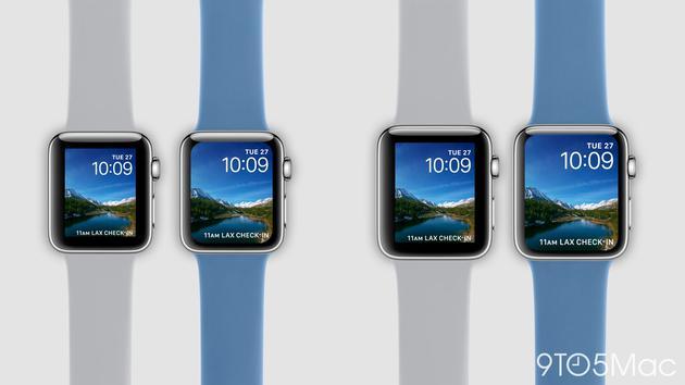 新旧手表对比会是这样?蓝色表带的为新品