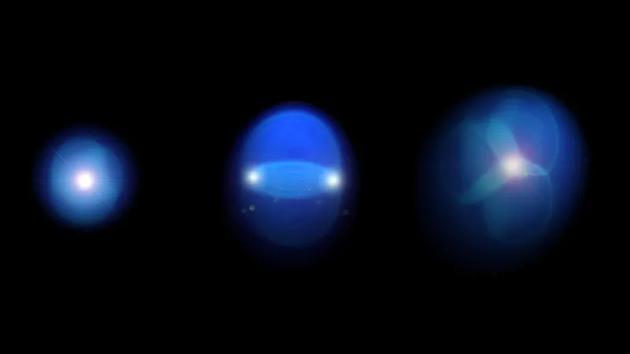 图中是3个夸克汤液滴。现在越来越众的证据外明,这些液体能够以意料不到的手段形成,爆炸性地产生向外起伏的微弱液滴,就像幼型液体大爆炸。
