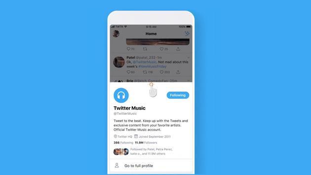 Twitter iOS应用测试新弹出页面 以便用户快速预览个人信息