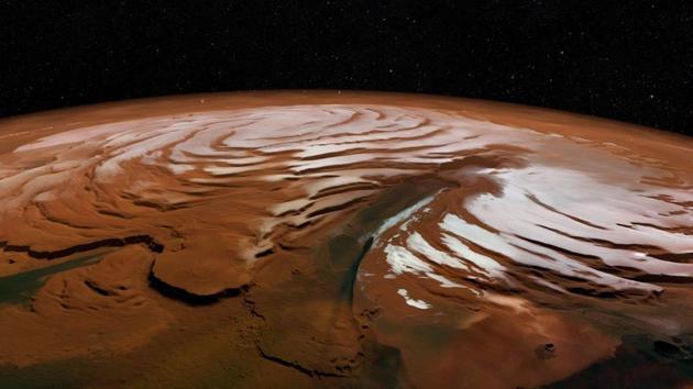 火星北极冰盖立体图像,垂直方向进行了拉伸处理,高差有夸大