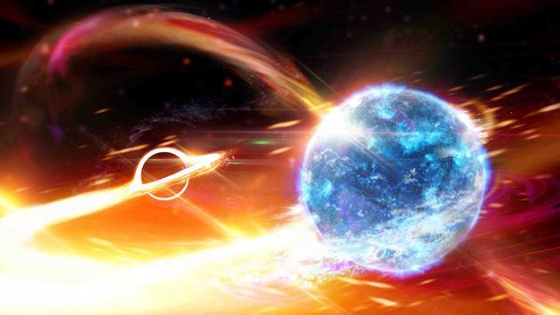 图为艺术家绘制的黑洞吞食中子星的概念图。