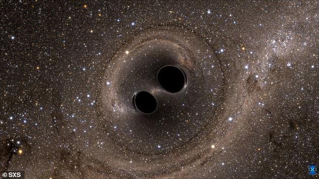 對于2016年發現的合并黑洞(想象圖),如果將碰撞的黑洞改為暗能量泛型體,其質量變化將會更容易解釋