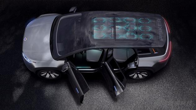 Fisker Ocean汽车顶部加�y入了太阳能电池板