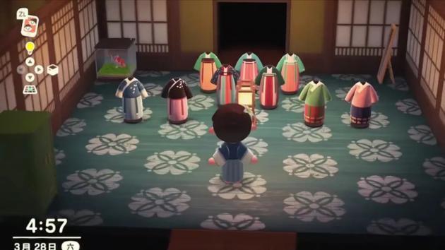 在《动森》里,玩家可以自由地发挥创意。| 图片截自视频《[动物森友会]在动森开一家汉服店》