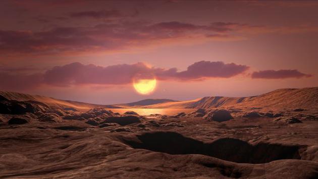 艺术家描绘的Kepler-1649c,它环绕一颗红低星运走,距离地球300光年。