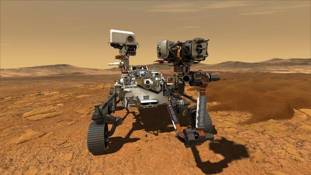 """艺术家描绘美国宇航局""""毅力号""""探测器在火星表面探索。"""