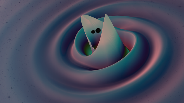 引力波从两个黑洞的合并中扩散出来
